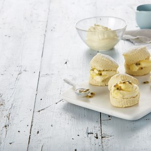 Scones with Lemon Curd Cream & Passionfruit