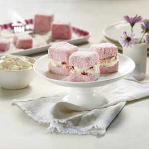 Jelly Cakes filled with Smashed Raspberry Cream