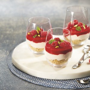 Raspberry Rosewater Mousse with Raspberry Sauce
